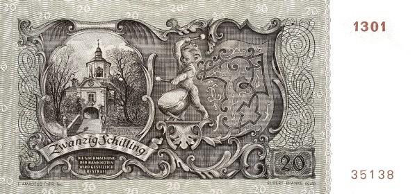 Austria 20 Schilling (1949-1954 Oesterreichische Nationalbank)