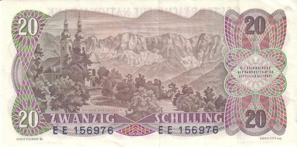 Austria 20 Schilling (1956-1965 Oesterreichische Nationalbank)