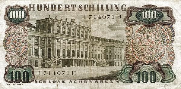 Austria 100 Schilling (1956-1965 Oesterreichische Nationalbank)