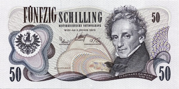 Austria 50 Schilling (1967-1970 Oesterreichische Nationalbank 2nd issue)