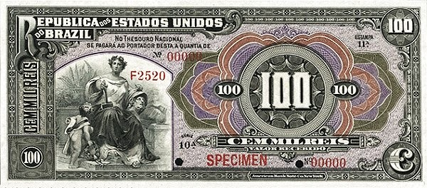 "Brazil 100 Mil Reis (1909 ""100 Mil Reis"")"