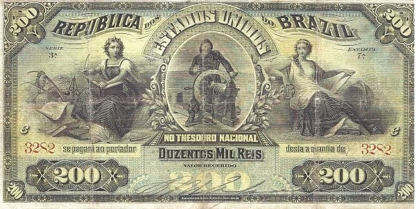 "Brazil 200 Mil Reis (1892 ""200 Mil Reis"")"