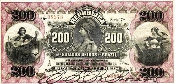 "Brazil 200 Mil Reis (1892 ""200 Mil Reis"" Estampa 8)"