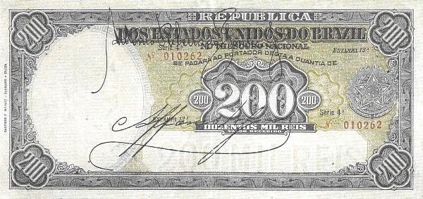 "Brazil 200 Mil Reis (1916 ""200 Mil Reis"")"