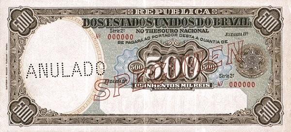 "Brazil 500 Mil Reis (1917 ""500 Mil Reis"")"