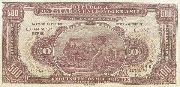 "Brazil 500 Mil Reis (1924 ""500 Mil Reis"")"