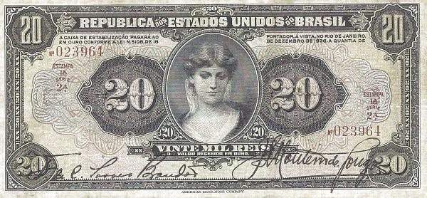 Brazil 20 Mil Reis (1926 Caixa de Estabilização)