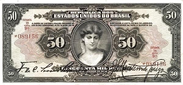 Brazil 50 Mil Reis (1926 Caixa de Estabilização)