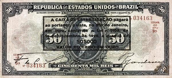 Brazil 50 Mil Reis (1926 Caixa de Estabilização Estampa 16)