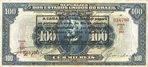 Brazil 100 Mil Reis (1926 Caixa de Estabilização Estampa 16)