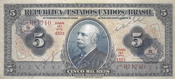 Brazil 5 Cruzeiros (1942 Casa da Moeda)