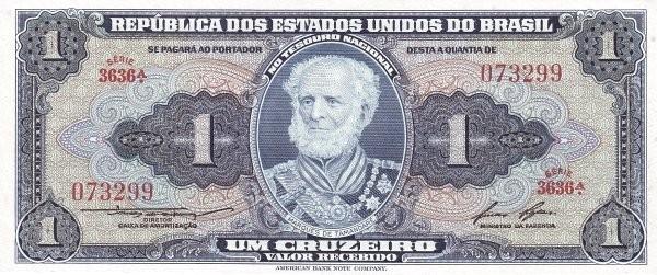 "Brazil 1 Cruzeiro (1953-1959 Printed Signatures ""Blue ABNC"" )"