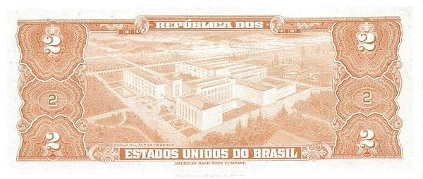"Brazil 2 Cruzeiros (1953-1959 Printed Signatures ""Blue ABNC"")"