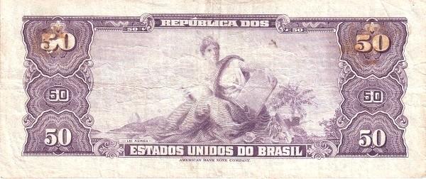 "Brazil 50 Cruzeiros (1953-1959 Printed Signatures ""Blue ABNC"")"