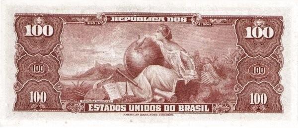 "Brazil 100 Cruzeiros (1953-1959 Printed Signatures ""Blue ABNC"")"