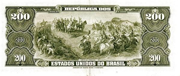"Brazil 200 Cruzeiros (1953-1959 Printed Signatures ""Blue ABNC"")"