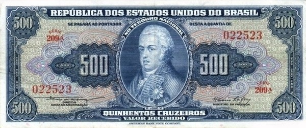 "Brazil 500 Cruzeiros (1953-1959 Printed Signatures ""Blue ABNC"")"