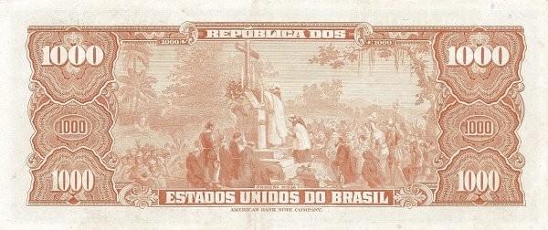 "Brazil 1000 Cruzeiros (1953-1959 Printed Signatures ""Blue ABNC"")"