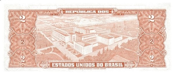 "Brazil 2 Cruzeiros (1953-1959 Printed Signatures ""Colored TDLR"")"