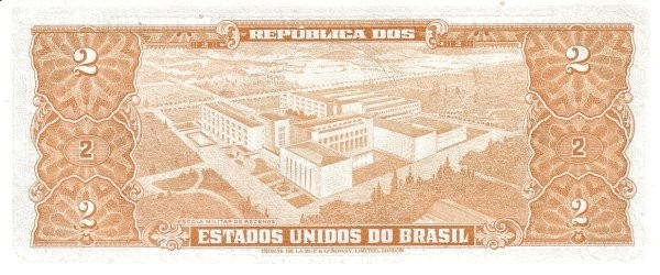 "Brazil 2 Cruzeiros (1956-1958 Printed Signatures ""Colored TDLR"")"
