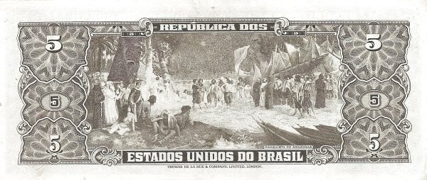 "Brazil 5 Cruzeiros (1953-1959 Printed Signatures ""Colored TDLR"")"