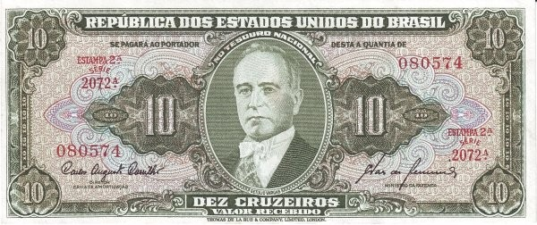 "Brazil 10 Cruzeiros (1953-1959 Printed Signatures ""Colored TDLR"")"