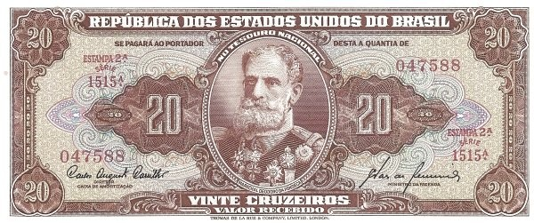 "Brazil 20 Cruzeiros (1953-1959 Printed Signatures ""Colored TDLR"")"