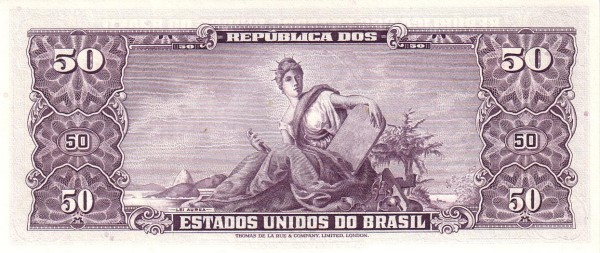 "Brazil 50 Cruzeiros (1953-1959 Printed Signatures ""Colored TDLR"")"