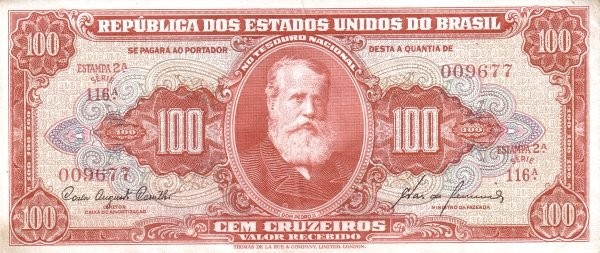 "Brazil 100 Cruzeiros (1953-1959 Printed Signatures ""Colored TDLR"")"