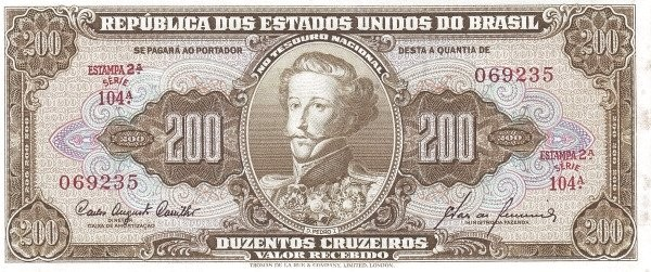 "Brazil 200 Cruzeiros (1953-1959 Printed Signatures ""Colored TDLR"")"