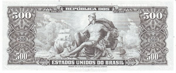 "Brazil 500 Cruzeiros (1953-1959 Printed Signatures ""Colored TDLR"")"