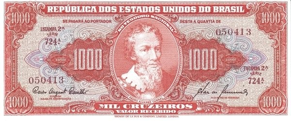 "Brazil 1000 Cruzeiros (1953-1959 Printed Signatures ""Colored TDLR"")"