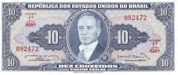 "Brazil 10 Cruzeiros (1961-1964 ""Blue ABNC"")"