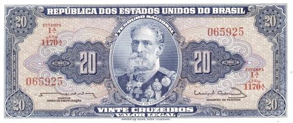 "Brazil 20 Cruzeiros (1961-1964 ""Blue ABNC"")"