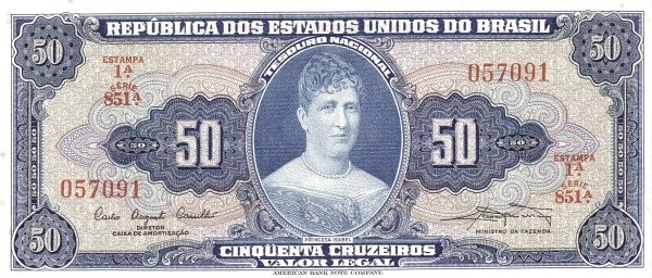 "Brazil 50 Cruzeiros (1961-1964 ""Blue ABNC"")"