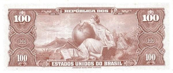 "Brazil 100 Cruzeiros (1961-1964 ""Blue ABNC"")"
