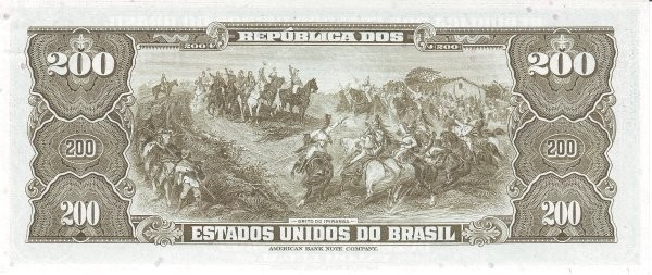 "Brazil 200 Cruzeiros (1961-1964 ""Blue ABNC"")"