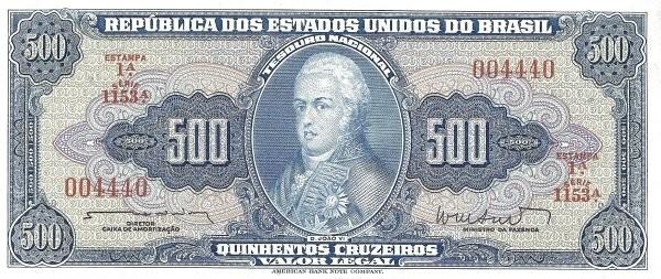 "Brazil 500 Cruzeiros (1961-1964 ""Blue ABNC"")"