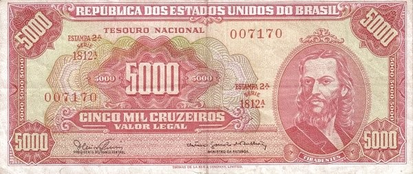 Brazil 5000 Cruzeiros (1965-1966 Banco Central do Brasil)