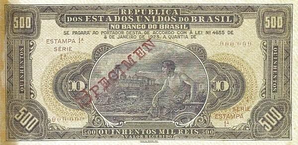Brazil 500 Mil Reis (1923 Provisional Banco do Brasil)