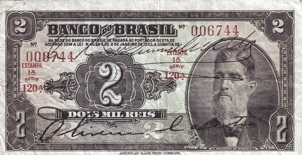 Brazil 2 Mil Reis (1923 Regular Banco do Brasil)