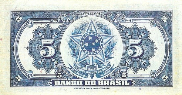 Brazil 5 Mil Reis (1923 Regular Banco do Brasil Estampa 2)