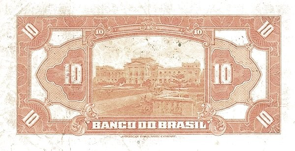 Brazil 10 Mil Reis (1923 Regular Banco do Brasil Estampa 1)