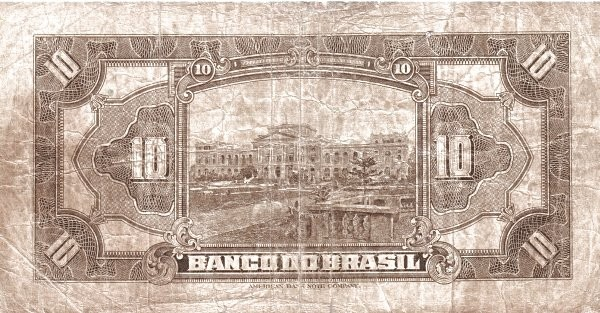 Brazil 10 Mil Reis (1923 Regular Banco do Brasil Estampa 2)