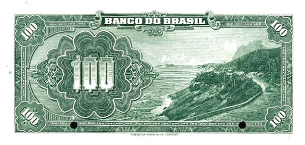 Brazil 100 Mil Reis (1923 Regular Banco do Brasil)