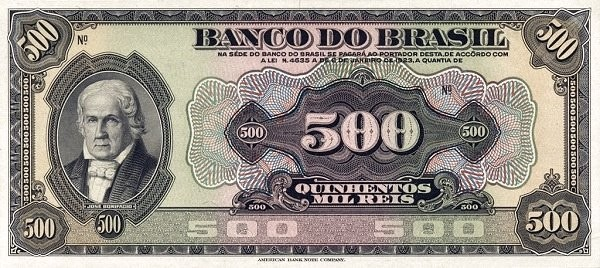 Brazil 500 Mil Reis (1923 Regular Banco do Brasil)