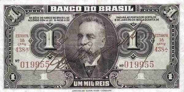 Brazil 1 Mil Reis (1944 Emergency)