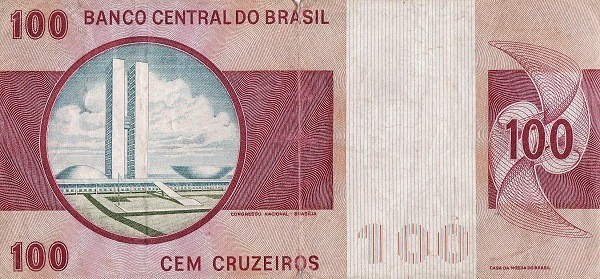 Brazil 100 Cruzeiros (1970-1981 Banco Central do Brasil)