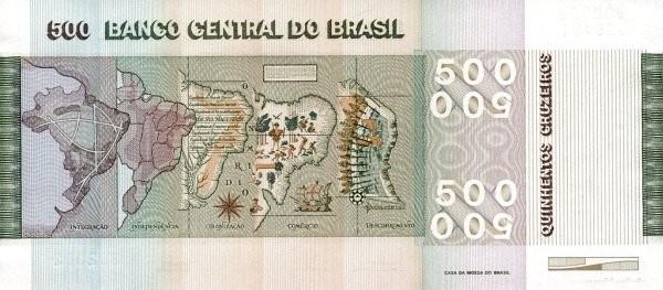 Brazil 500 Cruzeiros (1979-1980 Banco Central do Brasil-150 Years Brazilian Independence)