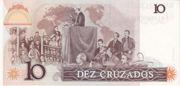 """Brazil 10 Cruzados (1986-1988 Regular """"Cruzado"""")"""